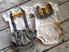 Boy - Girl twin set one piece by Carter's, ruffled bottom for the girl, Bow tie… Boy Girl Twin Outfits, Twin Baby Clothes, Boy Girl Twins, Twin Girls, Twin Babies, Baby Twins, Baby Outfits, Twin Boys Birthdays, How To Have Twins