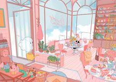 aesthetic, anime girl, and cafe image Cartoon Kunst, Anime Kunst, Cartoon Art, Anime Art, Art And Illustration, Illustration Mignonne, Pretty Art, Cute Art, Aesthetic Art