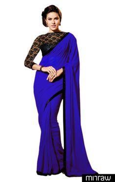 Party wear blue chiffon saree