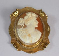 Cameo Brooch Carved Shell Cameo Goddess Flora