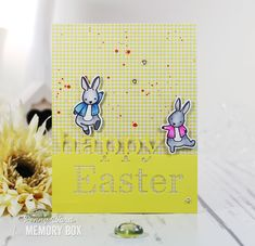 Easter-Bunnies by Penny Ward using the Grand Happy Easter die as well as the Birthday Bunnies stamps/dies