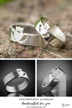 CONTEMPORARY CLADDAGH RING for men handcrafted in silver, white gold and yellow gold, as well as platinum and palladium by designer and silversmith Eileen Moylan of Claddagh Design Irish Jewellery.