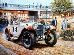 Vintage Cars and Racing Scene, Automotive Art of Vaclav Zapadlik  - Automotive Art : Vintage Car in city  Wallpaper  11