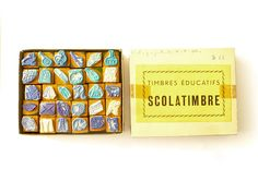 Stamps school vintage set of 30 stamps French 1950 rubber and