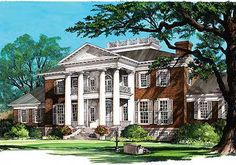 Grand Southern Home Plan - 32486WP | Plantation, Southern, Traditional, Luxury, 1st Floor Master Suite, Butler Walk-in Pantry, Den-Office-Library-Study, Elevator, Media-Game-Home Theater, PDF, Corner Lot, Sloping Lot | Architectural Designs