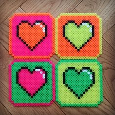 Neon heart coaster set perler beads by Thea IMYBY