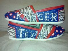 I WANT THESE!! Texas Rangers TOMS by MyHeartToYourSole on Etsy, $105.00