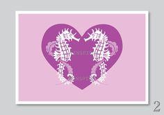 Sea horse art print nursery decor kids bathroom by Vinspiro, $18.00