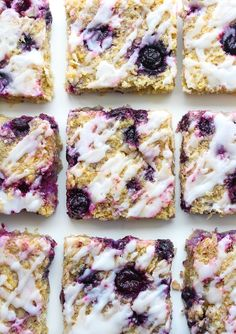 Sweet and chewy Blueberry Coconut Oat Squares - made with easy to source gluten free ingredients and topped with a lemon glaze I've had a serious revival in my love for blueberries lately. Throw them in Healthy Treats, Healthy Desserts, Healthy Food, Oat Slice Healthy, Healthy Recipes, Vegan Food, Free Recipes, Dessert Bars, Dessert Recipes