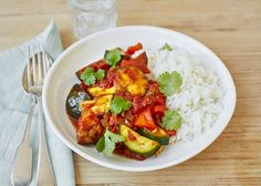 Preparation time: 25 minutes Cooking time: 35 minutes Serves 4 Meat-free Dairy-free Gluten-free INGREDIENTS 2 tbsp sunflower oil 2 aubergines 2 peppers, any colours 1 courgette, sliced 300g jasmine rice A small handfulcoriander leaves For the curry sauce: 1 onion, finely diced 1 garlic clove, crushed 1-inch piece ginger, grated 1 tbsp sunflower oil 1 …