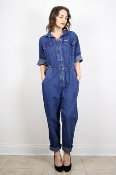 b5d97aeb22b Vintage Jumpsuit 80s Denim Jumpsuit Ble Jean Jumper Pants Playsuit Romper  Denim Overalls Dark Denim Pantsuit Catsuit 1980s M Medium L Large