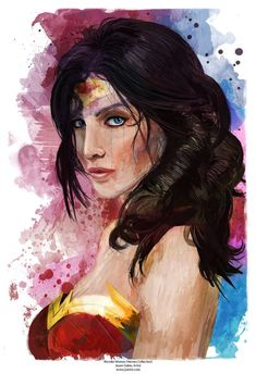 New Wonder Woman Abstract Art Canvas Portrait in sizes by j2artist