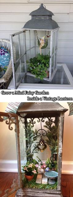 Grow a Mini Fairy Garden Inside a Vintage Lantern - 17 Stunning Fairy Gardens Created by Recycled Things #minigardens #miniaturegardens