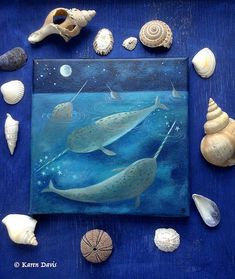 Narwhals An original acrylic painting on canvas by Karen Davis in 2009 Signed/dated and named on the back. Size: Approx 19.5 cms x 19.5 cms The thickness of the canvas is 1.5 cm. Varnished for protection. Unframed, but ready to hang on the wall as it is. *** This is an original artwork and
