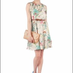 """SALE! Ted Baker Birdie Persian Ruffle Dress EUC. First picture stock photo. Belt not included. No snagging, stains, or tears. Skirt falls approximately 20"""" from waist. 100polyester. Ted Baker size 1 = USA size 4 per tedbaker.com Ted Baker Dresses Midi"""