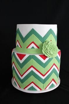 Green & Red Chevron Cake