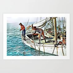Oystering, Mobile Bay, Alabama (uncaptioned) Art Print Colorized History, From The Ground Up, Meet The Artist, Buy Frames, Printing Process, Alabama, Gallery Wall, Art Prints, Artwork