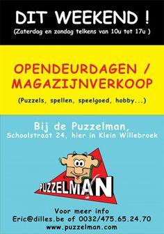 Opendeurdagen / magazijnverkoop bij de Puzzelman -- Klein Willebroek -- 23/04-24/04