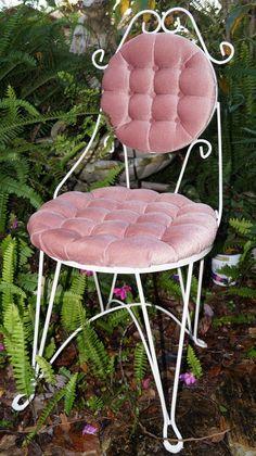 Weddings, Photo Prop Vintage Iron Vanity Chair Shabby Chic by EllieandBellevintage,