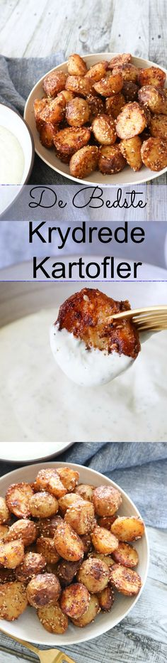 Krydrede ovnbagte kartofler er et hit herhjemme. Snacks, Tapas, Side Dishes, Food Porn, Paleo, Food And Drink, Appetizers, Potatoes, Healthy Recipes