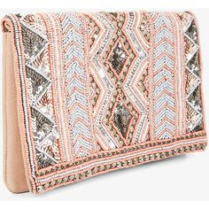 BCBGeneration Metallic Beaded Clutch (6.050 RUB) ❤ liked on Polyvore featuring bags, handbags, clutches, pink, bcbgeneration handbags, pink beaded purse, pink purse, fold over handbag and pink handbags