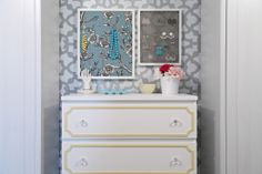 IHeart Organizing: framed corkboard (covered with fabric) to hang jewelery by dresser