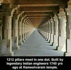 1740 years old temple at Rameshwaram, India. 1212 pillars meet at one dot! Incredible India Indeed! , 1740 years old temple at Rameshwaram, India. 1212 pillars meet at one dot! Incredible India Indeed! 1740 years old temple at Rameshwaram, India. Indian Architecture, Ancient Architecture, Amazing Architecture, Historical Architecture, India Facts, Unique Facts, Bizarre, Ancient Mysteries, Ancient Aliens