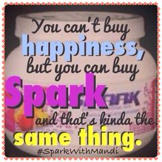 True Story! Our products are 100% guaranteed! Visit my website and place your order today! Spark is sugar free, and only 45 calories per serving!!! Spark has given me my life back with my kids!!! You can't put a price tag on that! And don't forget... Take a selfie with your spark, put it on IG with #SparkWithMandi I want to see your photos and hear your stories!!!