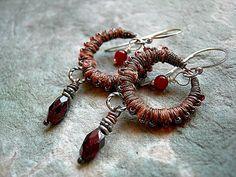 Autumn Color Earrings .Copper Silk Wrapped .Garnet & Carnelian .Boho Tribal, Gypsy Glam, Fabric Wrapped. $40.00