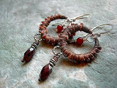 Autumn Color Earrings .Copper Silk Wrapped .Garnet & Carnelian .Boho Tribal, Gypsy Glam, Fabric Wrapped. $40.00
