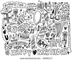 Happy Birthday Draw Vectores en stock y Arte vectorial | Shutterstock