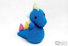 Dino the dinosaur crochet toy amigurumi from KATS handmade items.