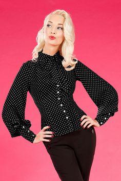 Miss Candyfloss - 30s Marlene Blouse in Black polka dot Bow