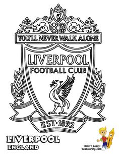 Liverpool Football Club Logo Coloring Printable Picture For Soccer Fans - Printable Coloring Pages Football Team Names, Football Crafts, Football Soccer, Football Coloring Pages, Sports Coloring Pages, Liverpool Logo, Liverpool Football Club, Toy Story Coloring Pages, Colouring Pages