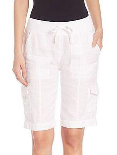 Eileen Fisher Organic Linen Cargo Shorts - White - Size