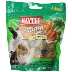 Kaytee Carrot Nibblers are a tasty, nutritious treat designed specifically for your companion animal, made with the freshest alfalfa hay. Nibblers satisfy the natural craving to chew, while supplying your companion with a wholesome nutritious treat.