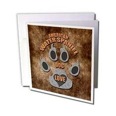 Doreen Erhardt Dog Breed Collection - American Water Spaniel Love Dog Breed in Gray and Brown - Greeting Cards-12 Greeting Cards with envelopes,$15.95