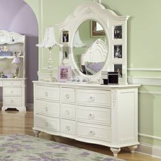 An Idea Of What A Dresser And Mirror Would Look Like In Pretty White