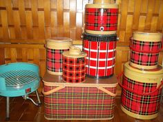 The Ultimate Vintage Cooler collection and turquoise grill and red Plaid picnic basket. $250.00, via Etsy.