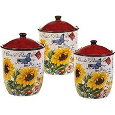 Certified International 13985 3 Piece Sunflower Meadow Canister Set, Multicolor