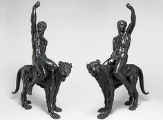 """Two bronze statues, which had previously been attributed to an unknown century artist, might actually be the work of Michelangelo. Titled """"Nude Bacchants Riding Panthers,"""" the statues depict n… Michelangelo Caravaggio, Michelangelo Sculpture, Renaissance Artists, Italian Renaissance, Miguel Angel, Statues, Found Art, Western Art, Panthers"""