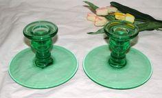 2 Vintage Depression Green Emerald Green Candlestick Candle HoldersC1