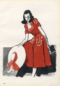 Germaine Lecomte Red Summer Dress, 1946, Illustrated By Rene Gruau