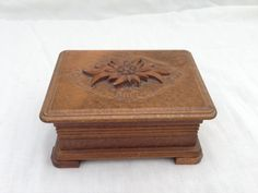 Wooden box carved top vintage hinged by TheLittleIrishShop on Etsy, £14.00