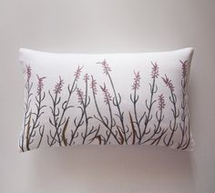 Cozy linen pillow with hand painted French lavender. True shabby chic pillow by Gagano Home Studio. Just imagine it on a white linen bedding...