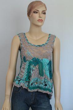 Gray Turquoise Freeform Crochet Knitting Top Tank Blouse Sweater   - Wearable Art - OOAK