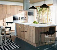 Cuisine Faktum Ikea / via Lejardindeclaire. Natural Kitchen, New Kitchen, Kitchen Interior, Kitchen Dining, Kitchen Island, Ikea Kitchen Units, Kitchen Cupboards, Timber Kitchen, Scandinavian Kitchen