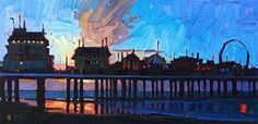 """Dawn At The Pleasure Pier,"" by Rene' Wiley by Rene' Wiley Gallery Oil ~ 12 x 24"