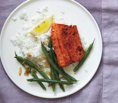 Brown Sugar-Glazed Salmon With Green Beans and Shallots Get the recipe: http://www.realsimple.com/food-recipes/browse-all-recipes/brown-sugar-glazed-salmon-00100000084850/index.html