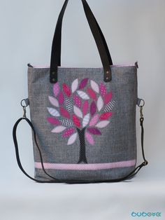 FREE SHIPPINGLifetree Applique Handbag Genuine Leather by buboxa